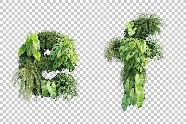 Rendu 3d de l'alphabet de jardin vertical e et de l'alphabet f