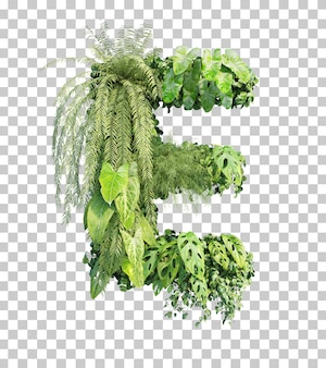 Rendu 3d de l'alphabet de jardin vertical e