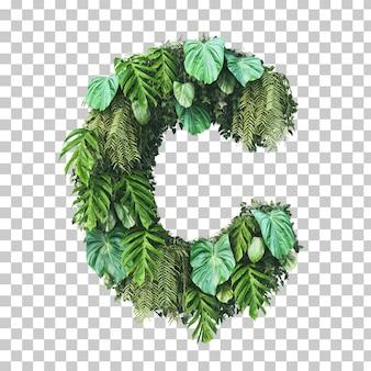 Rendu 3d de l'alphabet de jardin vertical (lettre c)