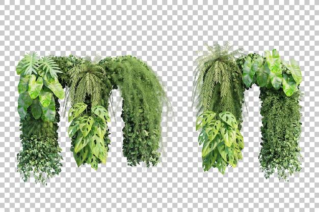 Rendu 3d de l'alphabet de jardin vertical m et alphabet n