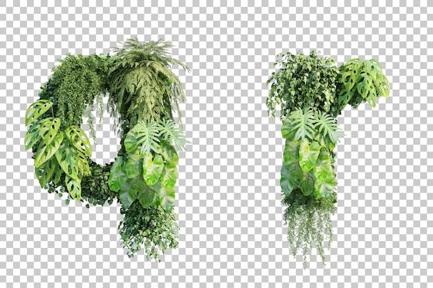 Rendu 3d de l'alphabet de jardin vertical q et alphabet r