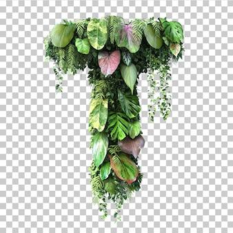 Rendu 3d de l'alphabet de jardin vertical t