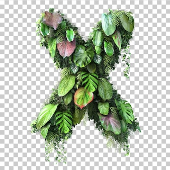 Rendu 3d de l'alphabet de jardin vertical x