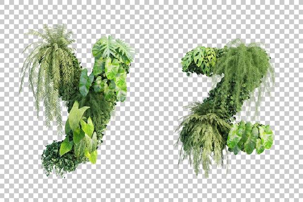 Rendu 3d de l'alphabet de jardin vertical y et de l'alphabet z