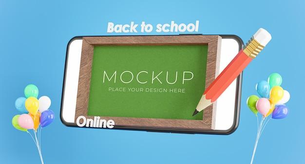 Rendu 3d de l'apprentissage en ligne avec concept en ligne de retour à l'école pour l'affichage de votre produit