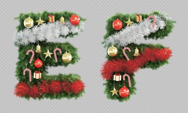 Le rendu 3d de l'arbre de noël lettre e et lettre f