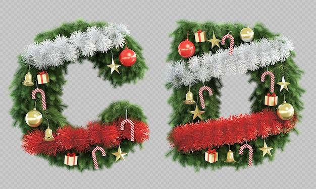 Rendu 3d de l'arbre de noël lettre c et lettre d