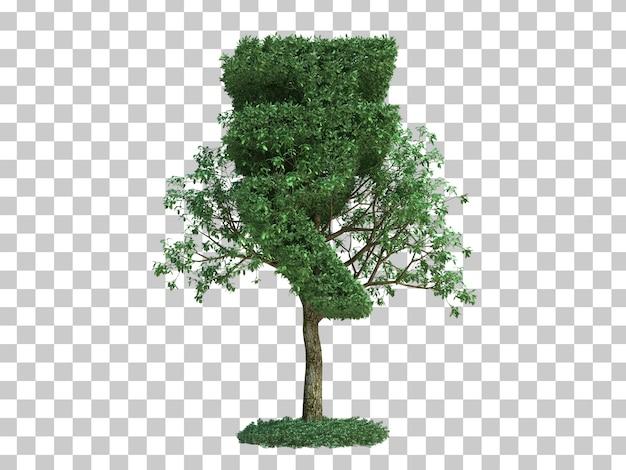 Rendu 3d de l'arbre de symbole de l'argent de l'inde