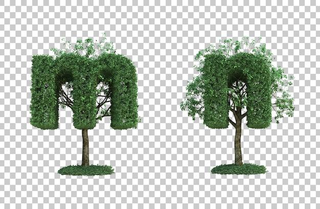 Rendu 3d de l'arbre vert lettre m et lettre n