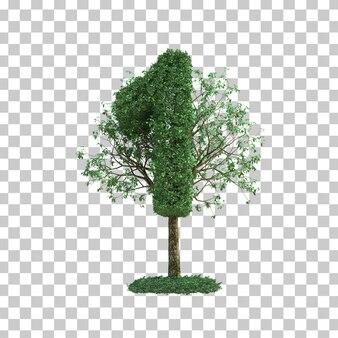 Le rendu 3d de l'arbre vert numéro 1
