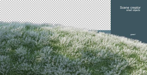 Rendu 3d de l'arrangement de champ de fleurs