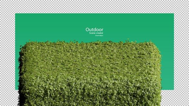 Rendu 3d de l'arrangement du support d'herbe en forme de cube rond