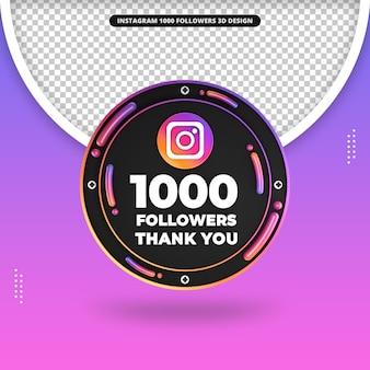 Rendu 3d avant 1000 abonnés sur la conception d'instagram