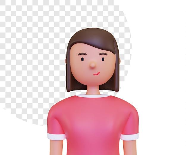 Rendu 3d de l'avatar de personnage féminin