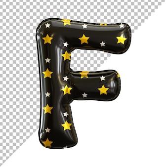 Rendu 3d des ballons d'anniversaire de la lettre de l'alphabet f