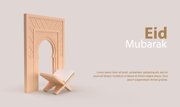 Rendu 3d de bannière eid mubarak