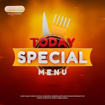 Rendu 3d de la bannière de menu spécial d'aujourd'hui