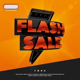 Rendu 3d de bannière de vente flash