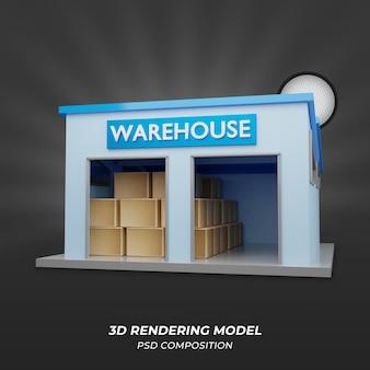 Rendu 3d bleu d'entrepôt ou d'entrepôt