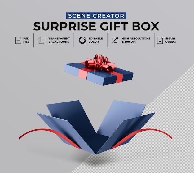 Rendu 3d de la boîte cadeau surprise ouverte pour la maquette du créateur de scène