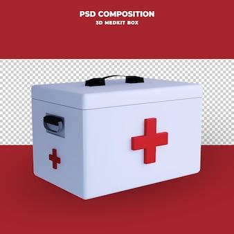 Rendu 3d de boîte de kit medic