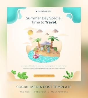 Rendu 3d, bonjour l'été, modèle de publication sur les réseaux sociaux, avec illustration cocotier