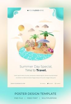 Rendu 3d, bonjour modèle d'affiche d'été, avec illustration cocotier