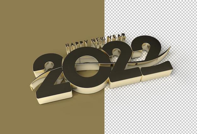 Rendu 3d bonne année 2022 texte typographie conception fichier psd transparent.