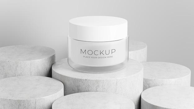 Rendu 3d d'une bouteille cosmétique avec podium en béton pour l'affichage de votre produit