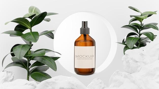 Rendu 3d de bouteille cosmétique sur podium géométrique, pierre, plante pour l'affichage de votre produit