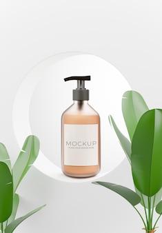 Rendu 3d d'une bouteille cosmétique sur un podium géométrique, plante pour l'affichage de votre produit