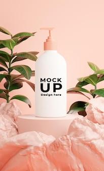 Rendu 3d de bouteille cosmétique avec rock pour la marque de maquette