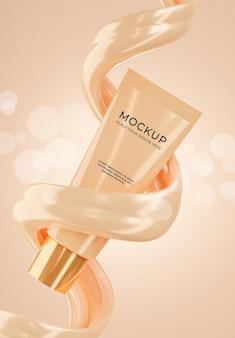 Rendu 3d de bouteille de cosmétiques réalistes avec crème de base pour vos produits