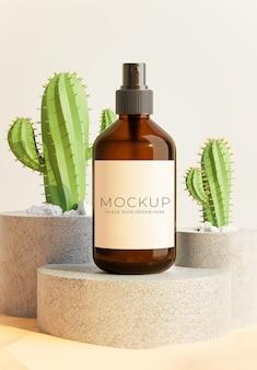 Rendu 3d de bouteille avec podium en béton, cactus pour l'affichage de votre produit