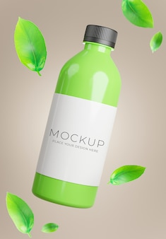 Rendu 3d d'une bouteille de thé vert avec du thé vert feuille pour l'affichage du produit
