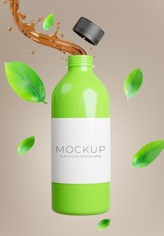 Rendu 3d d'une bouteille de thé vert avec splash pour l'affichage du produit