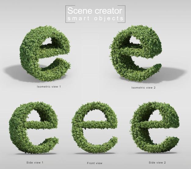Rendu 3d de buissons en forme de lettre e