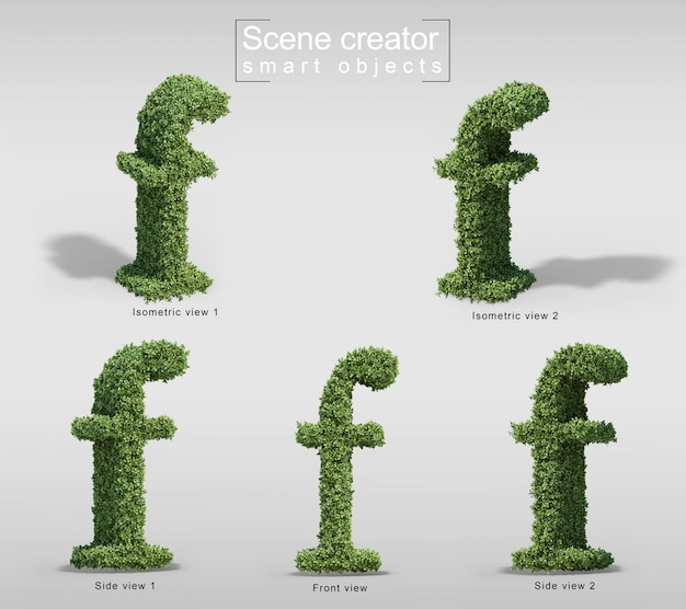 Rendu 3d de buissons en forme de lettre f