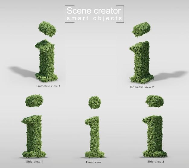 Le rendu 3d des buissons en forme de lettre i