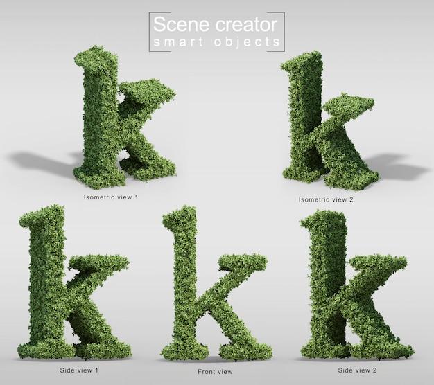 Rendu 3d de buissons en forme de lettre k