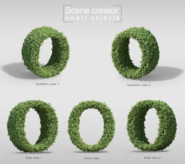Rendu 3d de buissons en forme de lettre o