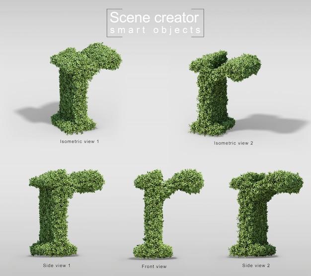 Rendu 3d de buissons en forme de lettre r