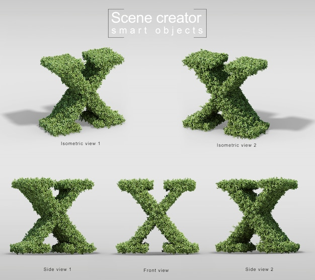 Rendu 3d de buissons en forme de lettre x