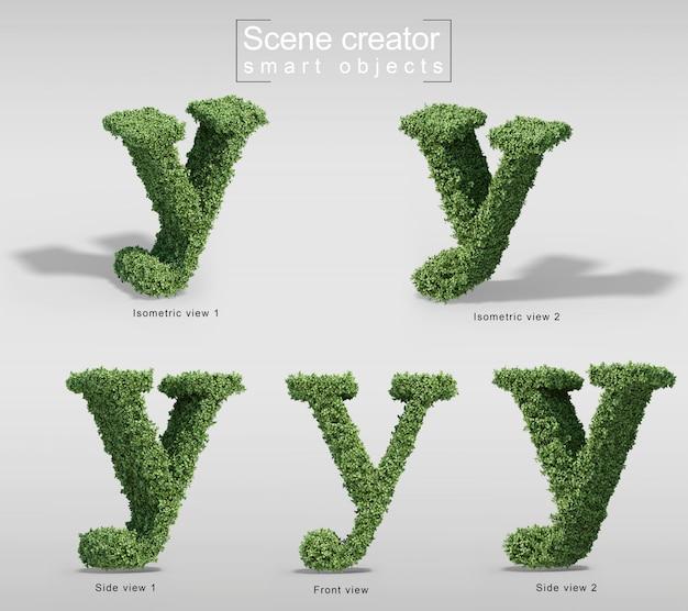 Rendu 3d de buissons en forme de lettre y