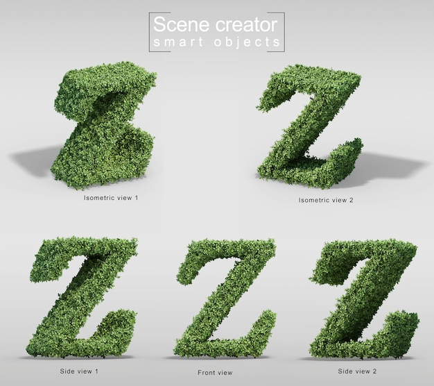 Rendu 3d de buissons en forme de lettre z