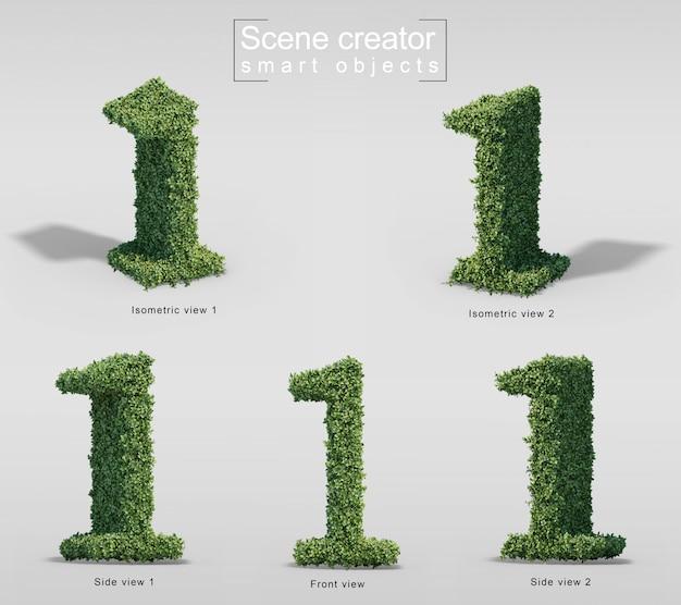 Rendu 3d de buissons en forme de numéro 1