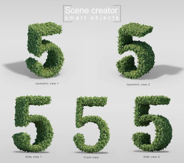 Rendu 3d de buissons en forme de numéro 5