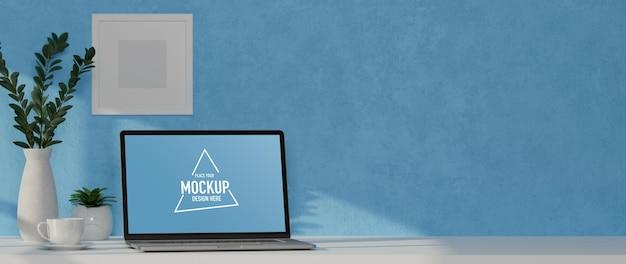 Rendu 3d, bureau à domicile avec maquette d'ordinateur portable