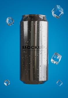 Rendu 3d de canette de boisson avec maquette de cube de glace