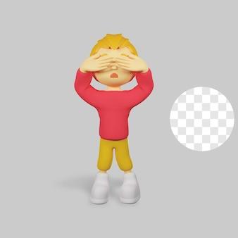 Rendu 3d caractère effrayant garçon